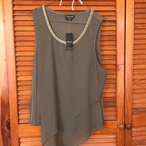 Chiffon Contrast Tank with Trim